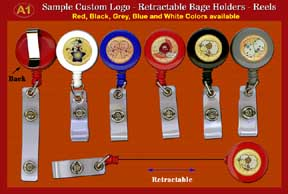RT-01 Sample 1 - Custom domed-Logo Retractable Badge Holders - Reels with Plastic Straps for