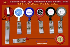 RT-01 Sample 2- Custom domed-Logo Retractable Badge Holders - Reels with Plastic Straps for
