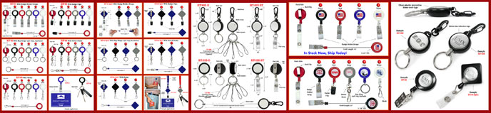 Badge Reels, Retractable Badge Holders, Clips, ID Cards, Name Badges, keyrings, Keychains and Retractable Key Reel Supplies.