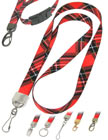 Scottish or Irish Red Tartan Plaid Lanyards with Cool Red Tartan Plaid, Kilt or Scotland Highlander Themes.