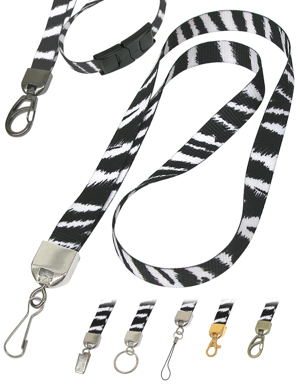 Zebra Lanyards: Cool Zebra Print Lanyards, Zebra Stripes or Zebra Pattern Printed Lanyards.