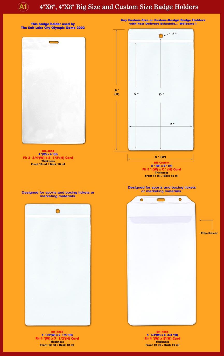 4x6 4x8 sports or boxing ticket id badge holder big size i d badge holder supplies. Black Bedroom Furniture Sets. Home Design Ideas